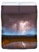 Lightning Striking Longs Peak Foothills 3 Duvet Cover