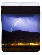 Lightning Striking Over Ibm Boulder Co 1 Duvet Cover