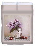 Lilac And Cherries Duvet Cover by Priska Wettstein
