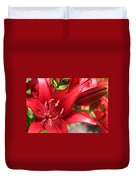Lilies In Red Duvet Cover