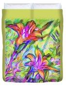 Lilies Transformed Duvet Cover