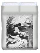 Lillian Sholes, The First Typist, 1872 Duvet Cover