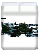 Lily Pads On White Water Duvet Cover