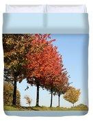 Line Of Autumn Trees Duvet Cover