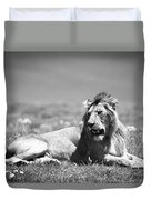 Lion King In Black And White Duvet Cover