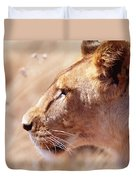 Lioness Staring Intently At Passing Duvet Cover