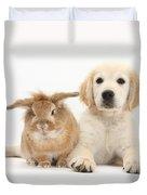 Lionhead-cross Rabbit And Golden Duvet Cover