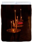 Lit Candles In A Church Duvet Cover