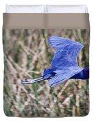 Little Blue Heron In Flight Duvet Cover