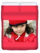 Little Girl In Red Duvet Cover