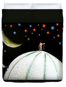 Little People Hiking On Fruits Under Starry Night Duvet Cover