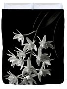 Little White Orchids In Black And White Duvet Cover