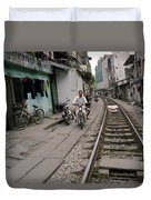 Living By The Tracks In Hanoi Duvet Cover