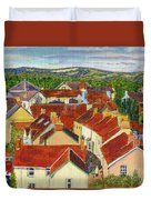 Painting Llandovery Roof Tops Duvet Cover