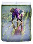 Local Planting Rice By Hand Duvet Cover