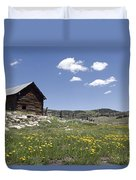 Log Cabin On The High Country Ranch Duvet Cover