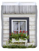 Log Home And Flower Box In The Window Duvet Cover