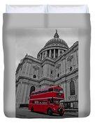 London Bus At St. Paul's Duvet Cover