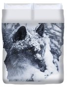 Lone Wolf In Snow Duvet Cover