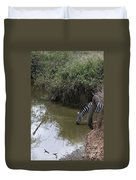 Lone Zebra At The Drinking Hole Duvet Cover