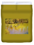 Long Billed Dowitchers Migrating Duvet Cover