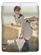 Long Branch Duvet Cover by Winslow Homer