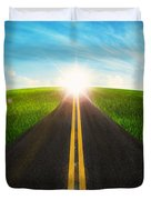 Long Road In Beautiful Nature  Duvet Cover