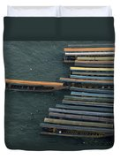 Long-tail Boats Anchored On The Chao Duvet Cover