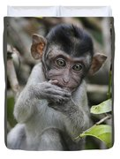 Long-tailed Macaque Macaca Fascicularis Duvet Cover