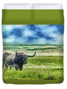 Longhorn Prarie Duvet Cover by Jeff Kolker