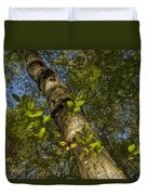Looking Up At A Tree Trunk Duvet Cover
