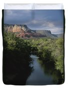 Looking Up Oak Creek At The Red Rocks Duvet Cover