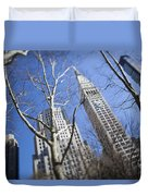 Looking Up Through Trees At Skyscrapers Duvet Cover by Axiom Photographic