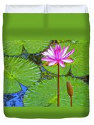 Lotus Blossom And Water Lily Pads Duvet Cover