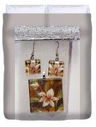 Lotus Flower Pendant And Earring Set Duvet Cover
