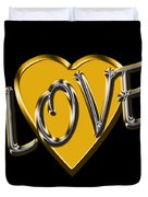Love In Gold And Silver Duvet Cover