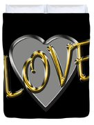 Love In Silver And Gold  Duvet Cover
