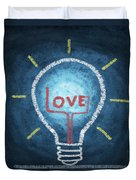 Love Word In Light Bulb Duvet Cover