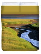 Low Tide At Sunset, Minas Basin, Kings Duvet Cover by Ron Watts
