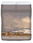 Low Winter Storm Clouds Colorado Rocky Mountain Foothills Duvet Cover