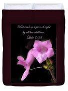 Luke 7 35 Pink Penstemon Flower Duvet Cover
