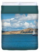 Luxury Yacht Sails In Blue Waters Along A Summer Coast Line Duvet Cover