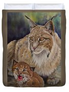 Lynx Mom And Baby Duvet Cover