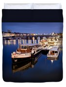 Maastricht Jetty On Maas River Duvet Cover