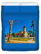 Mackinac Point Light Duvet Cover