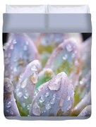 Macro Succulent With Droplets Duvet Cover