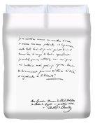 Madame De Stael Letter Duvet Cover