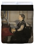 Madame Manet At The Piano Duvet Cover