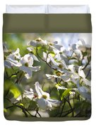 Magical White Flowering Dogwood Blossoms Duvet Cover