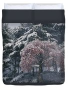 Magnolia Blossoms And Conifers Duvet Cover